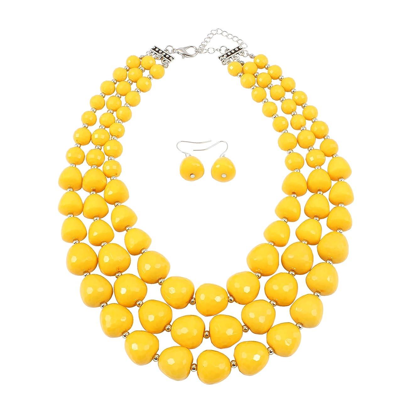 KOSMOS-LI 5 Colors Acrylic Beads Statement Strand Necklaces