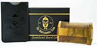 Hand Made Sandalwood Scent Beard Comb – Hatchet style, 4 Styling Sides – Men's Grooming For Beard and Moustache - Fine & Wide Teeth, NO Pulling or Snagging – Free Box & Carrying Pouch