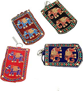 Kuber Industries 4 Piece Embroided Velvet Mobile Cover with Sari Hook, Multicolour