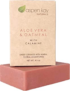 Calamine Soap Bar. With Organic Aloe Vera & Colloidal Oats. Natural Soap With Organic Skin Loving Oil. This Soap Makes a Wonderful and Gentle Face Soap or All Over Body Soap. 4.5 oz Bar.