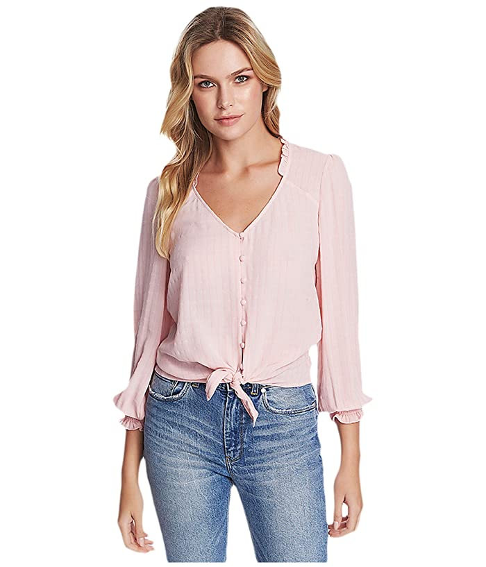1.STATE  Long Sleeve Sheer Windowpane Tie Front Blouse (Ballet Rose) Womens Clothing