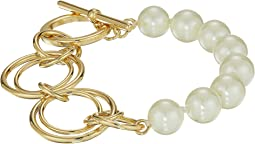 Pearl Update Metal Link Toggle Bracelet