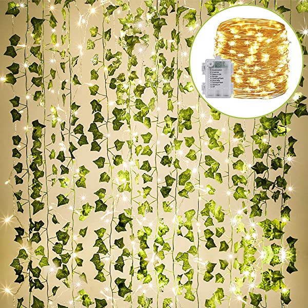 KASZOO 84Ft 12 Pack Artificial Ivy Garland Fake Plants Vine Hanging Garland With 80 LED String Light Hanging For Home Kitchen Garden Office Wedding Wall Decor Green