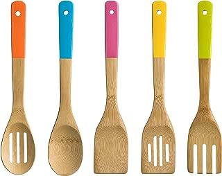 Premier Housewares 5 Pieces Kitchen Utensil Set Bamboo/Coloured Handles