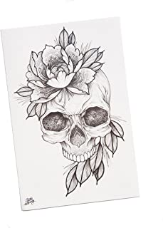 TattooYou Flower Skull Design Temporary Tattoo - Finest Quality Grayscale Temporary Skull Tattoo - Hand Drawn Design by Sasha Masiuk - 6.5 by 9.75 Inches