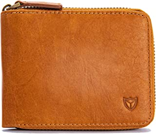 RFID Men's Leather Zipper wallet Zip Around Wallet Bifold Multi Card Holder Purse (Brown)