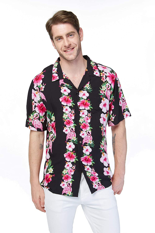 Hawaii Hangover Men's Hawaiian Shirt Aloha Shirt Pink Hibiscus Vine