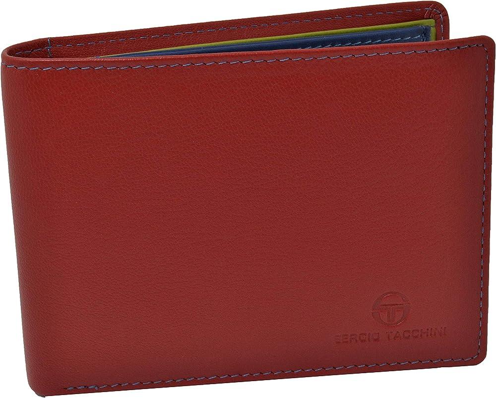 Sergio tacchini, portafoglio per uomo, in vera pelle, interno multicolore, rosso