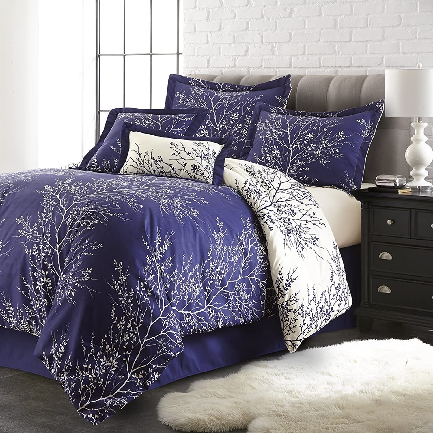 Spirit Linen Hotel 5Th Ave 6-Piece Foliage Collection Plush Reversible Comforter Set, Queen, Navy Ivory