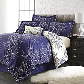 Spirit Linen Hotel 5Th Ave 6-Piece Foliage Collection Plush Reversible Comforter Set, Queen, Navy/Ivory
