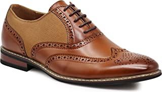 Enzo Romeo Titan01 Men's Spectator Tweed Plaid Two Tone Wingtips Oxfords Perforated Lace up Dress Shoes
