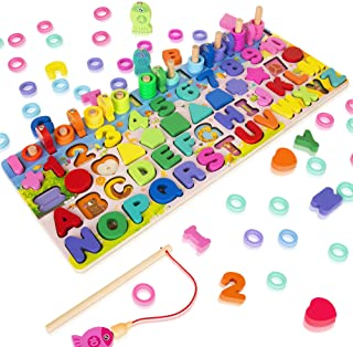 Wooden Magnetic Puzzles for Toddlers, 5-in-1 Color Alphabet Shape Number Sorting Fishing Game Toys, Educational Math Stack...