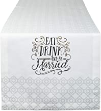 DII Wedding Collection 100% Cotton Table Runner, Eat, Drink, Be Married