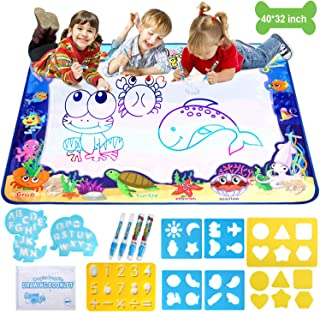 Adsoner Water Magic Mat, Aqua Drawing Magic Mat, Water Painting Doodle Mat with 4 Magic Pens Developmental Educational Toys for Toddlers Kids (40 X 32 Inches)