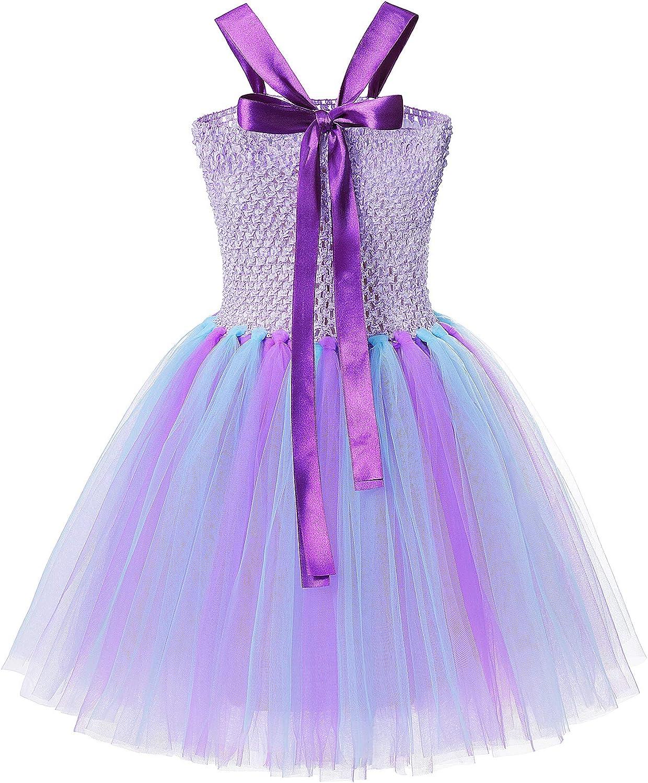 Little Mermaid Tutu Dress Girls Purple Tulle Party Costume with Headband