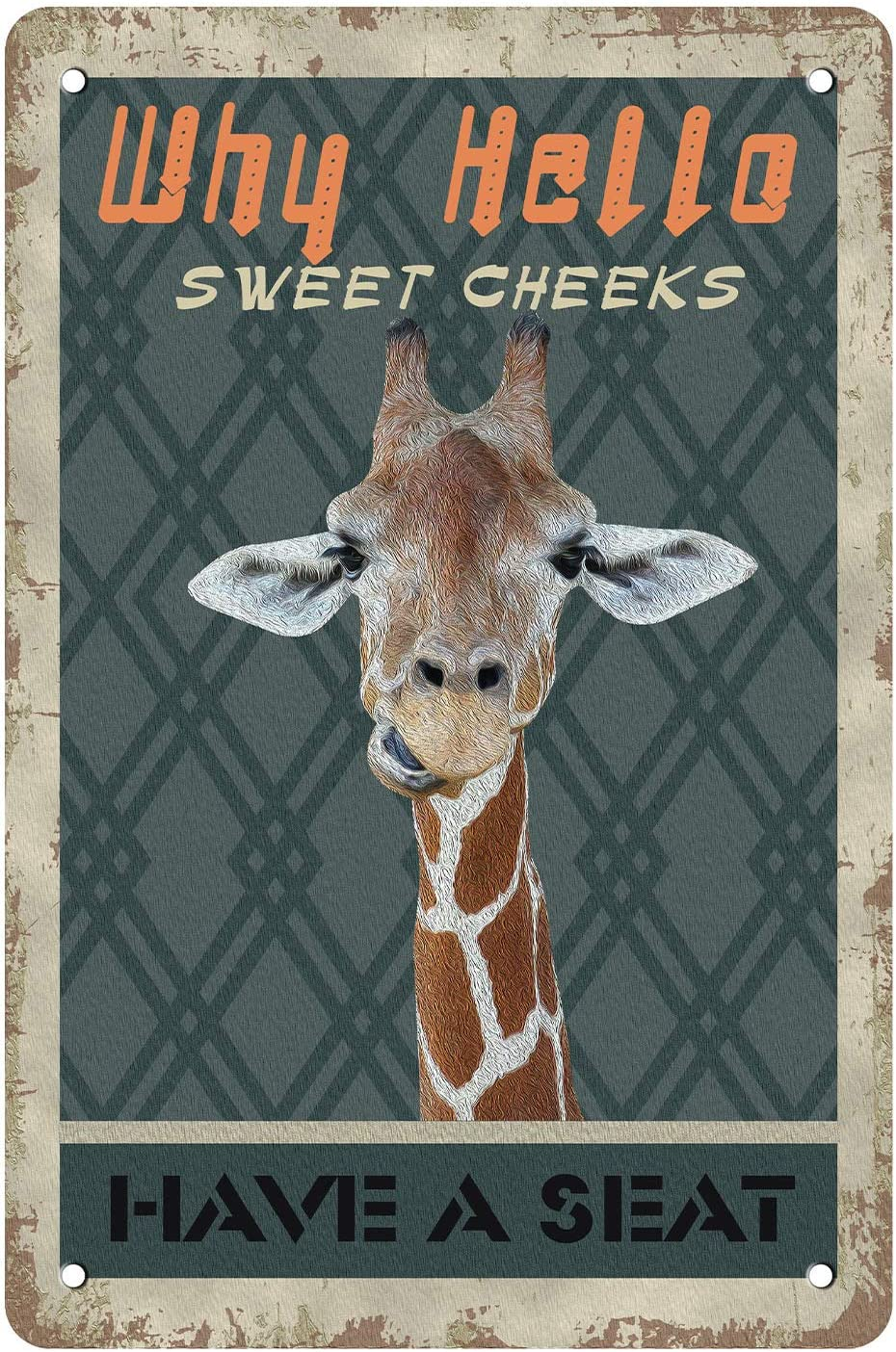 MuaToo Sweet Cheeks Giraffe Wall Decorative Decor Tin Sign Funny,Have A Seat Livingroom Bedroom Bathroom Vintage Retro Poster Paintings Cute Giraffe Picture Home Decoration,812inches.