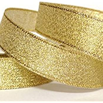 Gold 50mm Wide Wired Edged Glitter Ribbon