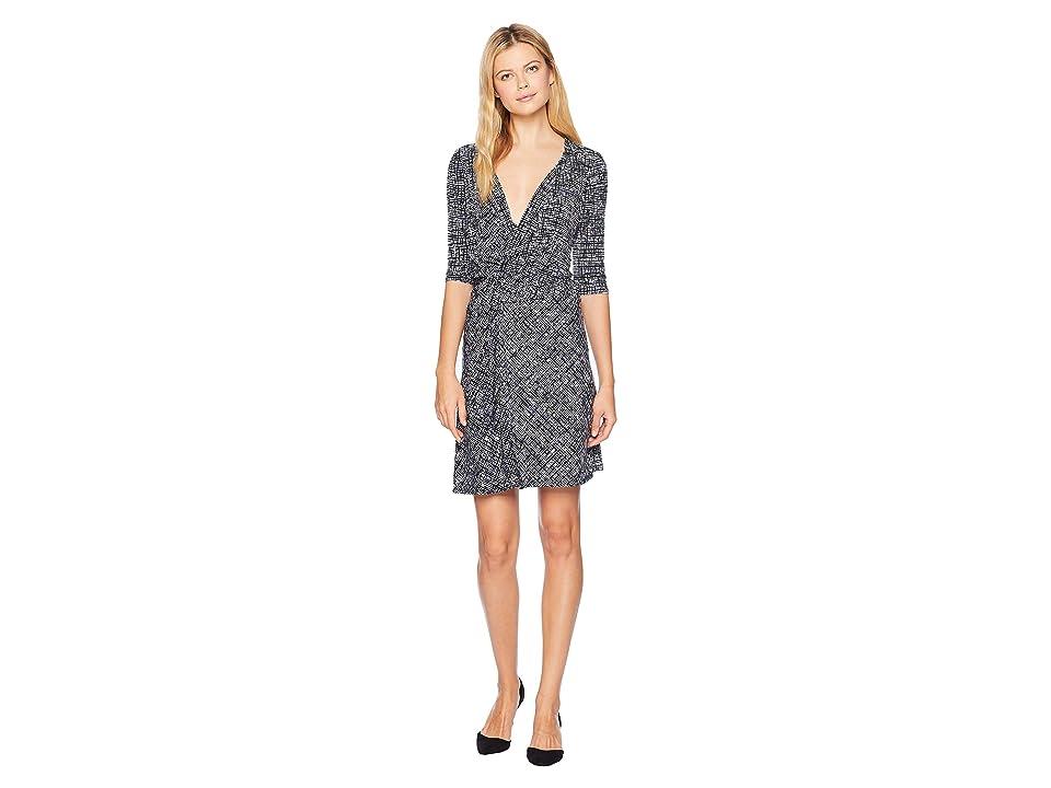 Ellen Tracy Twisted Front Dress (Crosshatch/Sky Blue) Women