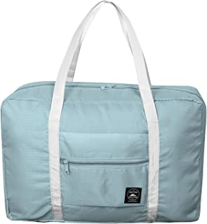 SPAHER Duffle Bag 32L Ultra Lightweight Foldable Packable Overnight Holdall Waterproof Travel Handbag Shoulder Organizer Storage Carrying Suitcase Bag For Shopping Gym Luggage Sports Camping Blue