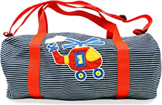 Toddler Helicopter Duffel Bag for Boys Preschool Striped Denim Small, Weekender Luggage, Made in the USA
