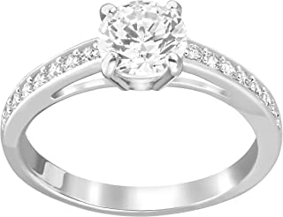 Swarovski Attract Ring, Round Clear Crystal Center Stone with Clear Crystal Pavé on a Rhodium Plated Setting