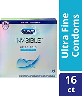 Durex Invisible Ultra Thin Condoms, Ultra Sensitive- Ultra Fine, Natural Latex With Lube and Reservoir Tip. Durex's Thinnest Condom for Men, HSA Eligible, 16 Count