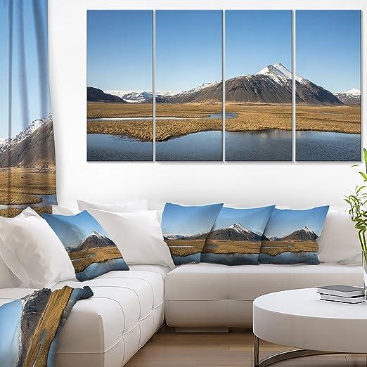 Amazon Com Designart Scenic Southern Iceland Landscape Photo Canvas Print 48x28 4 Piece 28 H X 48 W X 1 D 4p Blue Home Kitchen