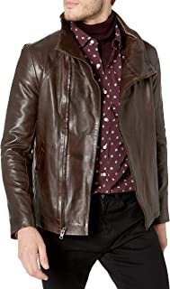 LAMARQUE Men's Edet Cowl Neck Asymmetric Lambskin Washed Leather Jacket
