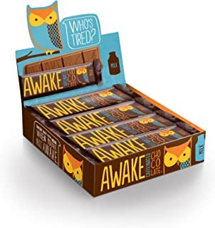 Awake Caffeinated Chocolate Energy Bar, Milk Chocolate, (12 Count of 1.55 oz Bars) 18.6 oz