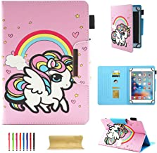 7 Inch Tablet Universal Case, UGOcase Multi Angle Stand Folio Wallet Case Cover for Galaxy Tab A 7.0/Tab 4 7.0/Tab 3 Lite 7.0/Tab J 7.0/F i r e 7, RCA, iRulu, iView, 6.5-7.5 Tablet, Candy Unicorn