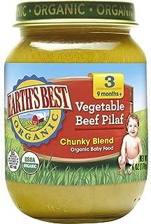 Earth's Best Organic Stage 3 Baby Food, Vegetable Beef Pilaf, 6 oz. Jar (Pack of 12)