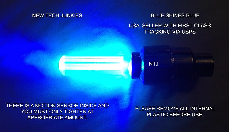 New Tech Junkies (?) NTJ USA 1 Pair LED Motion Activated Bike Bicycle Wheel Valve Stem Cap Tire Light (Blue)