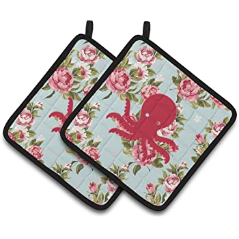 Carolines Treasures Octopus Shabby Chic Yellow Roses Pair of Pot Holders BB1098-RS-YW-PTHD Multicolor 7.5HX7.5W