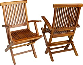 TeakCraft Teak Folding Arm Chair, 2 Piece Set, Fully Assembled, Wooden Outdoor Chair or Indoor, Wood Lounge Chair, Patio D...
