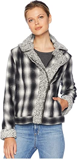 Brushed Plaid Sherpa Trim Moto Jacket