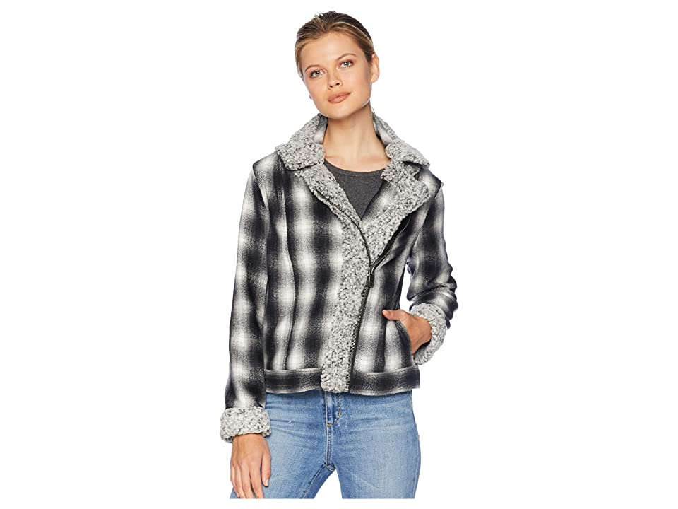 TWO by Vince Camuto Brushed Plaid Sherpa Trim Moto Jacket (Rich Black) Women