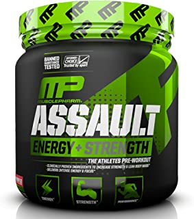 MusclePharm Assault Sport Pre-Workout Powder with High-Dose Energy, Focus, Strength, and Endurance, Strawberry Ice, 30 Ser...