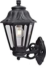 Wandleuchten Schwarz IP55 Au/ßenbeleuchtung Wegeleuchten mit Erdspie/ß 1 flammig, A++, inkl. 6W 800lm Warmwei/ß E27 Leuchtmittel Wandlampe f/ür Garten Einfahrt und Eing/ängen