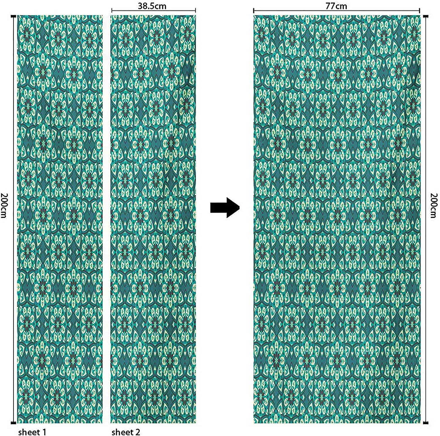 Green Door Mural Removable Quality inspection Max 72% OFF Vinyl Pattern with Kaleidoscopic Blue