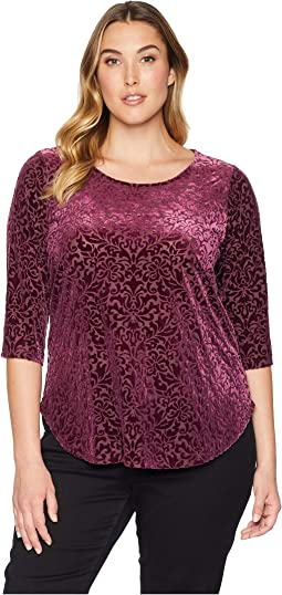 Plus Size 3/4 Sleeve Velvet Burnout Top