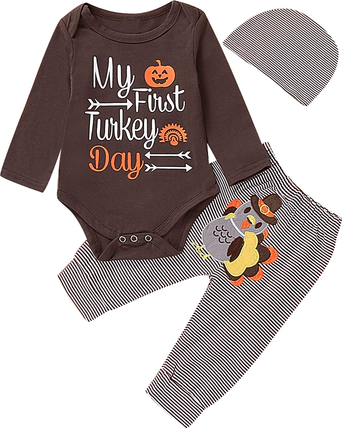 Newborn Boy Girl Thanksgiving Day Outfit Newborn 1st Thanksgiving Clothes Turkey Outfit