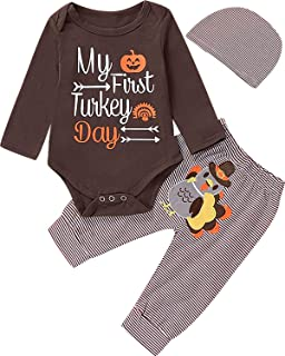 Thanksgiving Baby Outfit Newborn My First Turkey Day Pants Clothing Set