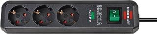 Brennenstuhl Eco-Line 3-fach Steckdosenleiste mit Überspannungsschutz, Steckerleiste, Kindersicherung, Schalter und 1,5 m Kabel anthrazit