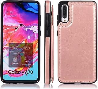 Molg Compatible con Funda Samsung Galaxy A90 5G Hebilla Doble Color Puro Alta Grado PU Cuero Caso [Dos Cierres Magnéticos]...