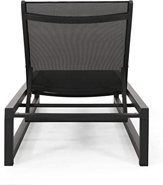 Christopher Knight Home Vivian Outdoor Aluminum Chaise Lounge with Mesh Seating (Set of 2), Black