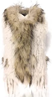 Women's 100% Natural Knit Rabbit Fur Vest with Raccoon Fur Collar