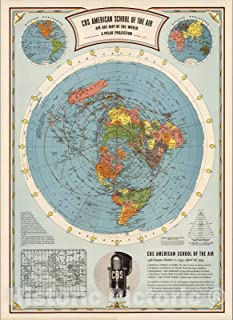 Historic Map - CBS American School of the Air, Air Age Map of the World, A Polar Projection, 1943 - Vintage Wall Art - 44in x 60in