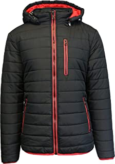 Spire Men's Puffer Bubble Jacket with Contrast Trim