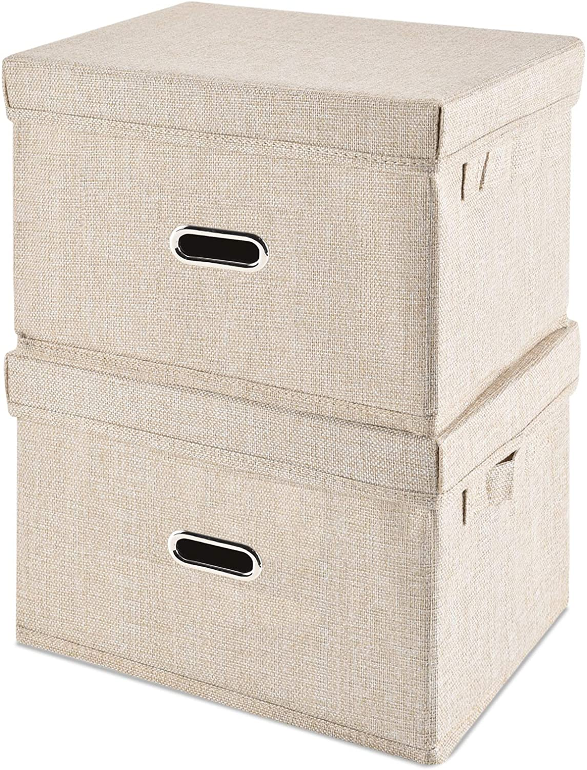 HONGKERNE San Francisco Mall Linen Fabric Storage Bin Ranking TOP14 Lid Sto Foldable 2-Pack with