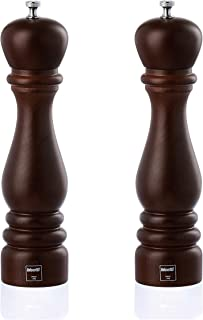 Bisetti Roma Beechwood Salt and Pepper Mill Set With Adjustable Grinder, Made in Italy (9.8 Inch, Walnut)